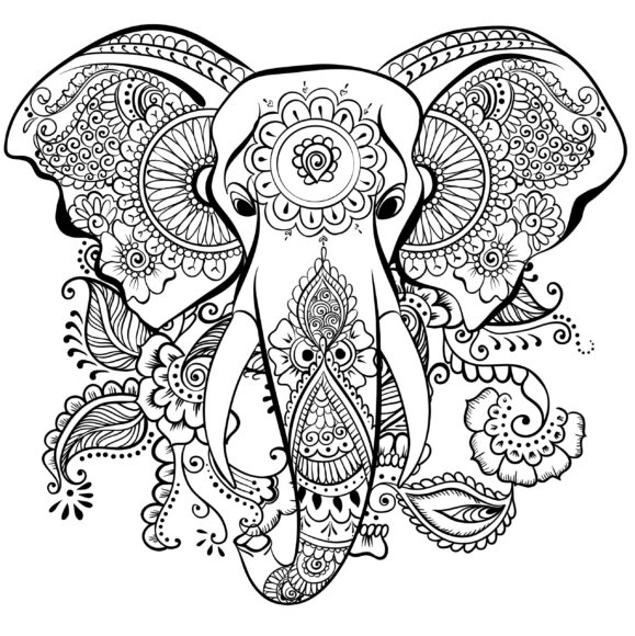Tranh tô màu hình mặt con voi