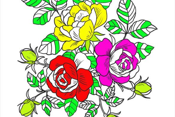 Tranh tô màu hoa hồng
