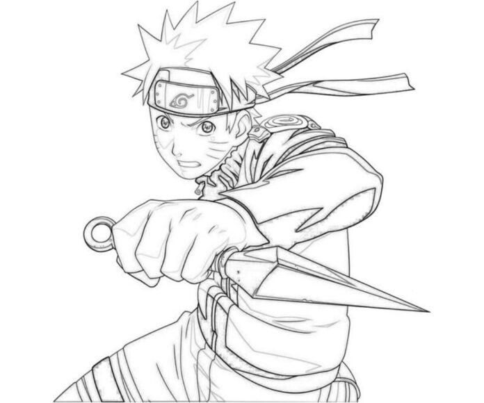 Tranh tô màu Naruto cầm đao nhọn