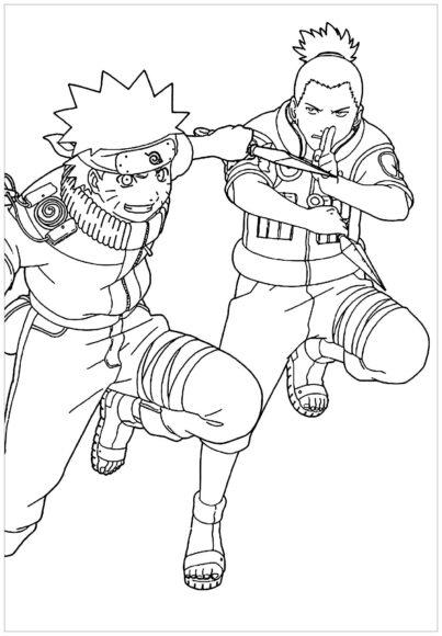 Tranh tô màu Naruto chiến đấu