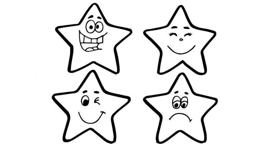 Tranh tô màu ngôi sao hoạt hình dễ thương