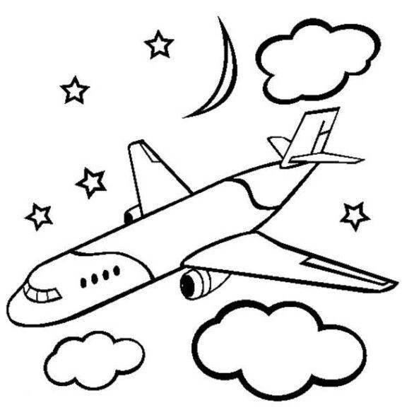 Tranh tô màu ngôi sao, mây, trăng và máy bay