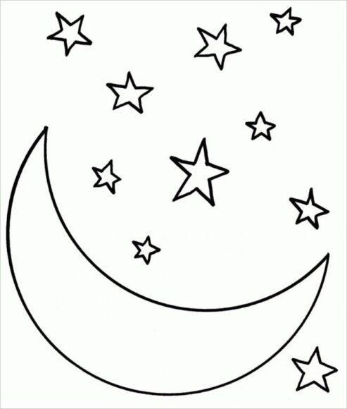 Tranh tô màu ngôi sao và ông trăng