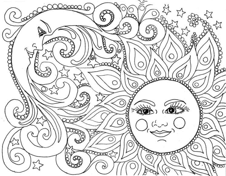 Tranh tô màu người lớn hình mặt trăng và mặt trời