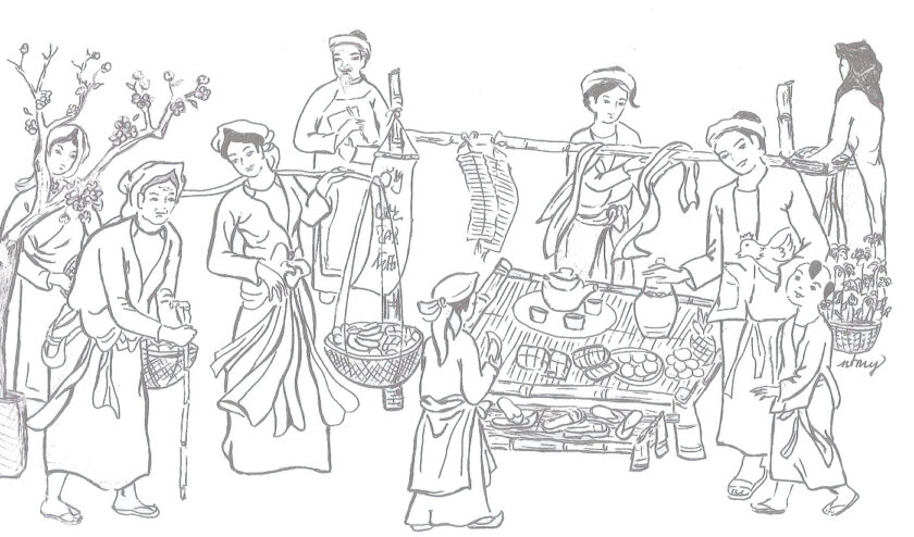 Tranh tô màu tết nguyên đán cảnh chợ tết