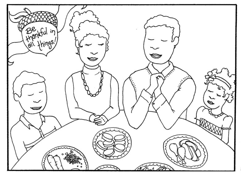 Tranh tô màu tết nguyên đán gia đình cùng ngồi ăn cơm vui vẻ