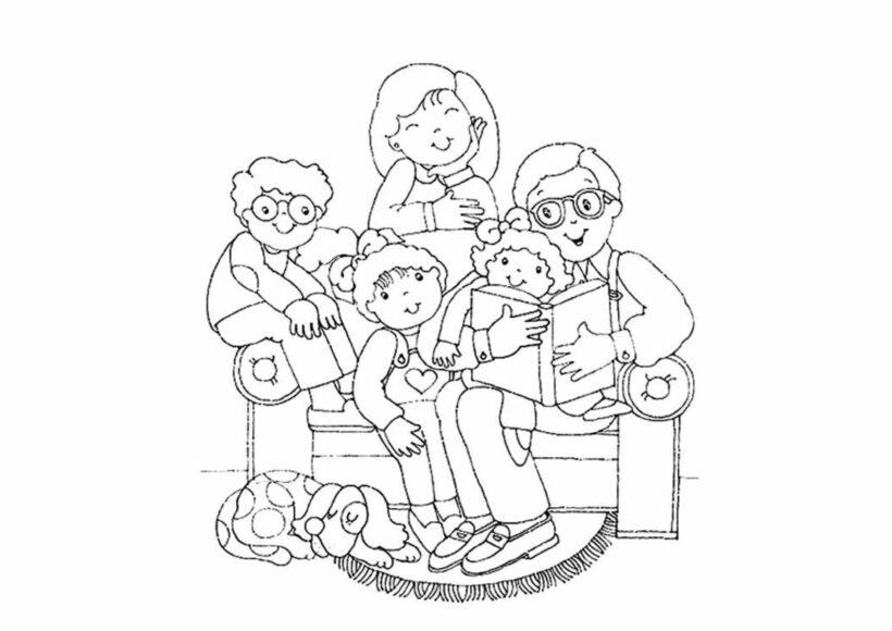 Tranh tô màu tết nguyên đán gia đình ngồi quây quần bên nhau vui vẻ