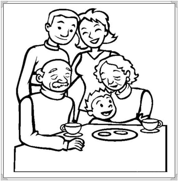 Tranh tô màu tết nguyên đán gia đình sum họp bên nhau ấm áp