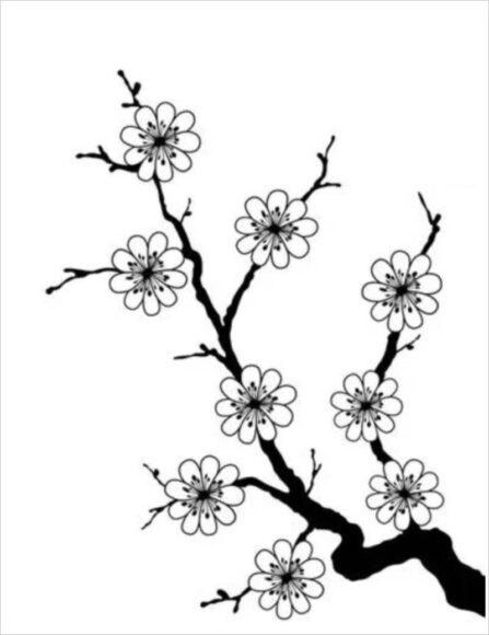Tranh tô màu tết nguyên đán hình cành hoa mai