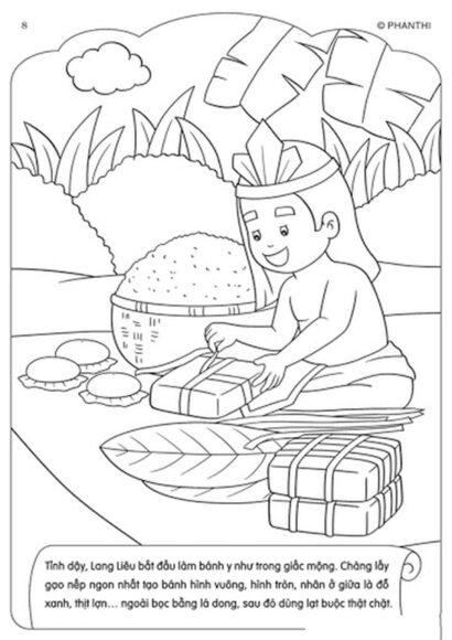 Tranh tô màu tết nguyên đán hình Lang Liêu đang gói bánh trưng bánh dày