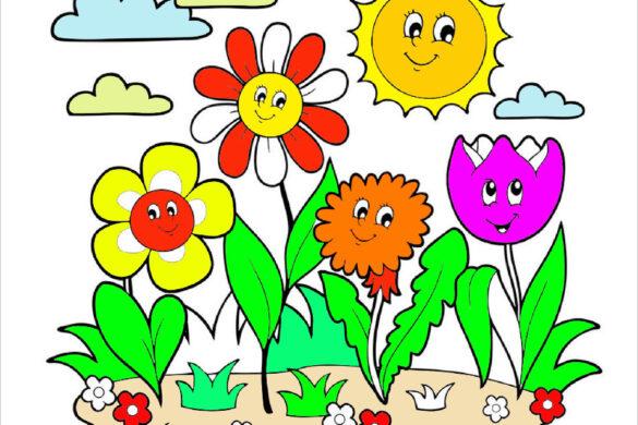 Tranh tô màu vườn hoa
