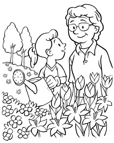 Tranh tô màu vườn hoa cho bé tô màu