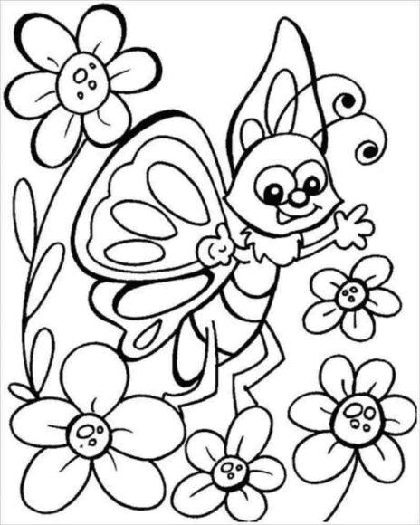 Tranh tô màu vườn hoa và con bướm