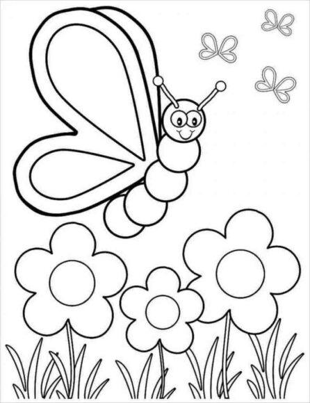 Tranh tô màu vườn hoa và con bướm xinh