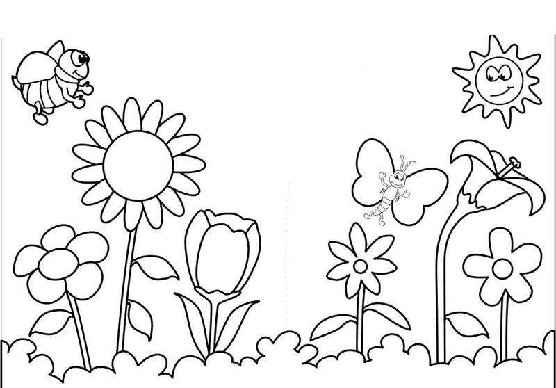 Tranh tô màu vườn hoa và những con ong, bướm