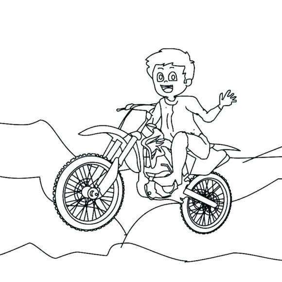 Tranh tô màu xe máy leo núi