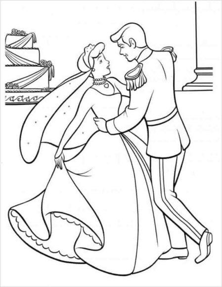 Tranh vẽ chưa tô màu công chúa lọ lem nhảy cùng hoàng tử