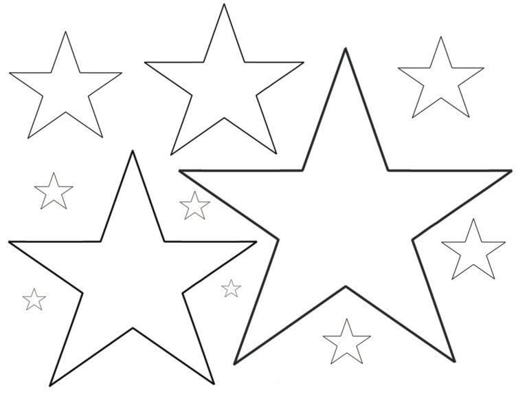 Tranh vẽ chưa tô màu ngôi sao