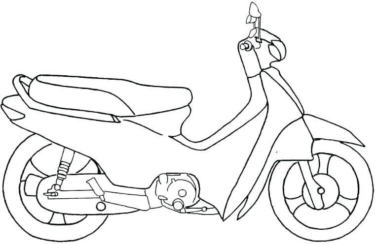 Tranh vẽ chưa tô màu xe máy