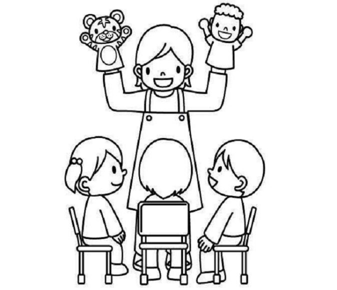 Tranh vẽ cô giáo và học sinh cho bé tập tô