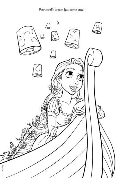 Tranh vẽ công chúa tóc mây và những chiếc đèn lồng cho bé tập tô