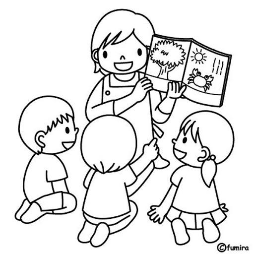 Tranh vẽ đen trắng cô giáo và học sinh
