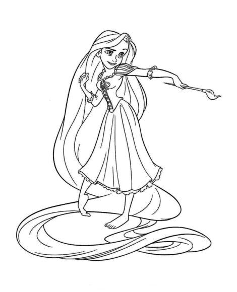 Tranh vẽ đen trắng công chúa tóc mây