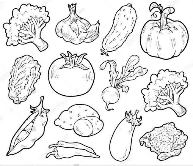 Tranh vẽ đen trắng rau củ quả cho bé tập tô