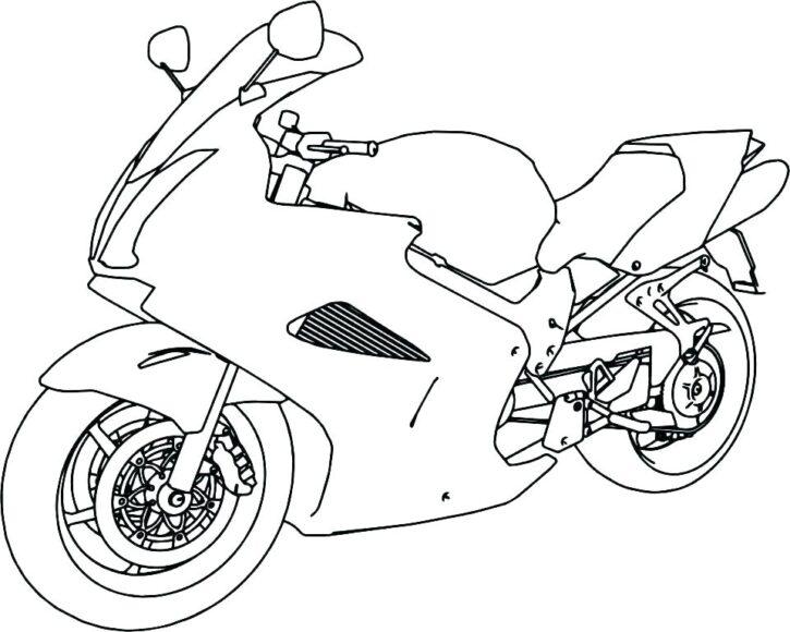 Tranh vẽ đen trắng xe máy cjho bé tô màu